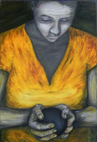 Schwarze kugel, Gesicht, Verletzte hand, Frau, Geschwollene wange, Malerei