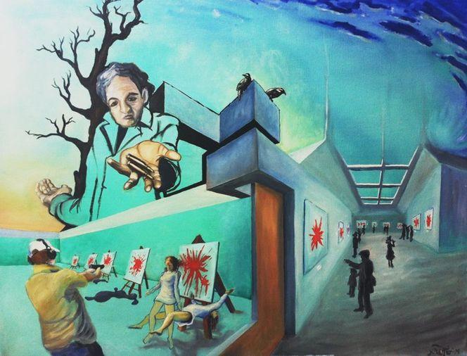 Perversion, Medienkrieg, Krieg, Gleichgültigkeit, Gesellschaft, Malerei