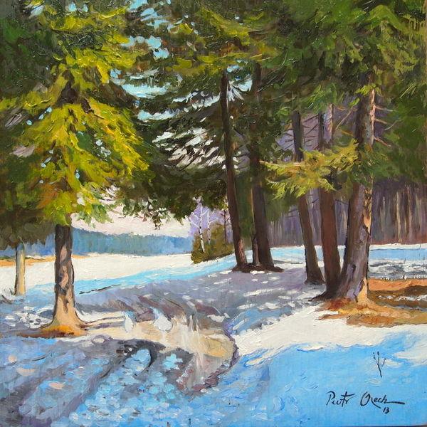 Winter schnee wald, Malerei, Rand