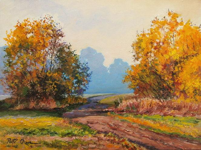 Herbst landschaft bäume, Malerei, Herbst