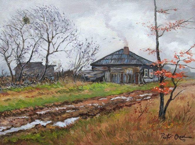 Dorf, Bauernhaus, Herbst, Regen, Malerei