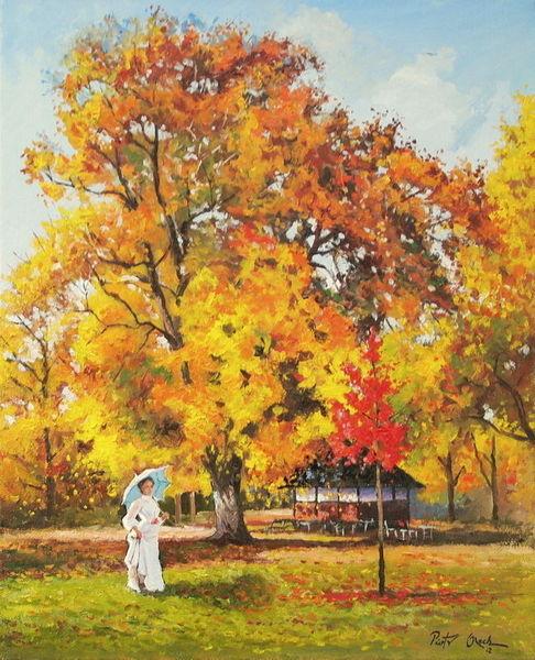 Herbst, Park, Frau, Baum, Malerei
