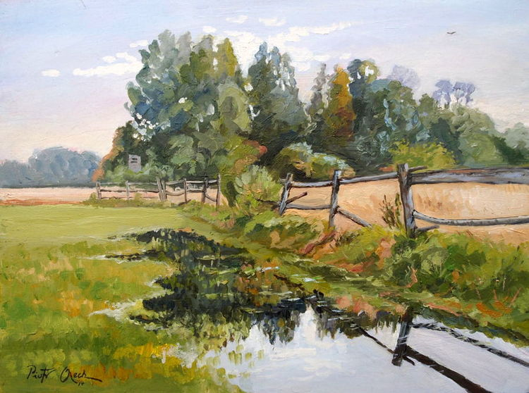Zaun, Baum, Feld, Landschaft, Sommer, Malerei