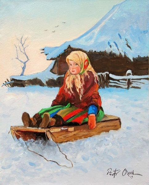 Winter, Schnee, Mädchen, Schlitten, Malerei, Menschen