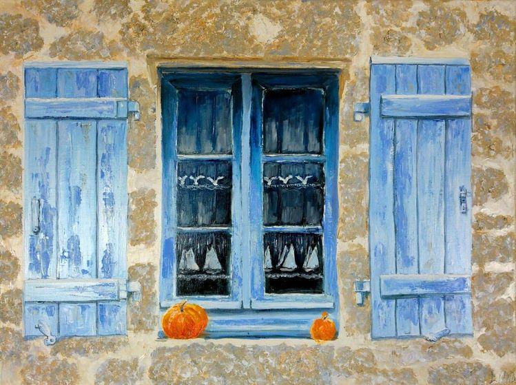 Fenster, Kürbisse, Alt, Ostsee, Bauernhaus, Malerei