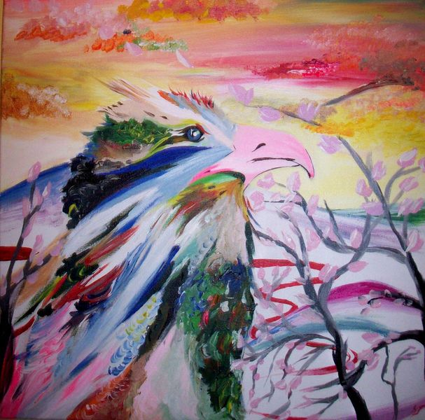 Kirsche, Pink, Kirschblüten, Himmel, Bunt, Vogel