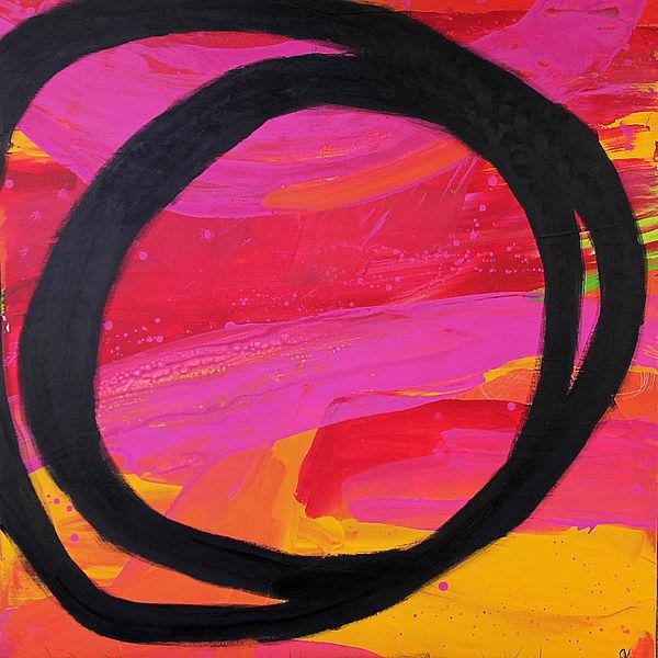 Gemälde, Orange, Einzelstück, Kreis, Rot, Acrylmalerei