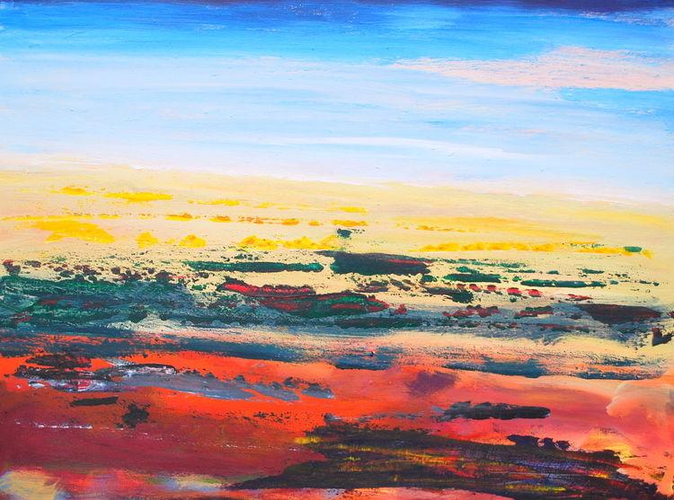 Abstrakt, Landschaft, Mischtechnik, Malerei, Wüste