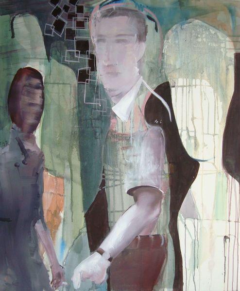 Uhr, Mann, Frau, Arm, Malerei