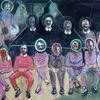 Dreieck, Menschen, Gruppe, Malerei