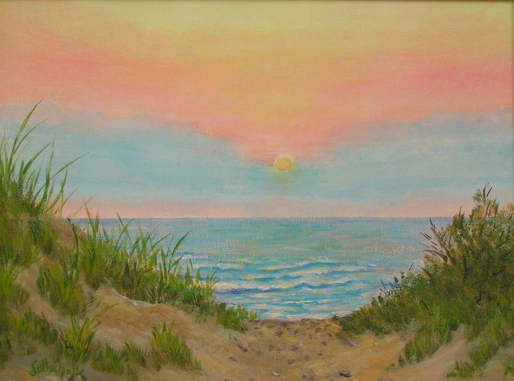 Meer, Dünen, Sand, Sonnenuntergang, Malerei