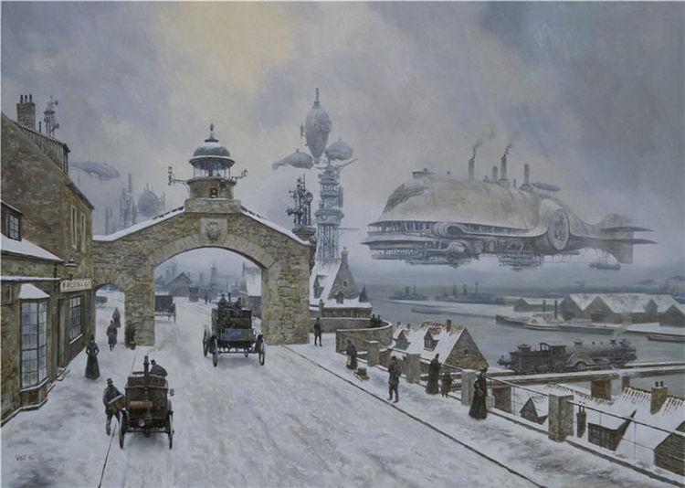 Hafen, Winter, Steampunk, Schiff, Schnee, Stadt