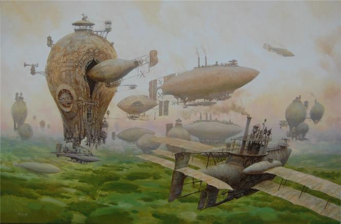 Steampunk, Dampf, Luftschiff, Landschaft, Luftschiffe, Malerei