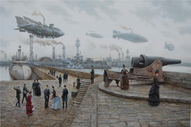 Dampfschiff, Schiff, Kanone, Luftschiff, Luftschiffe, Steampunk