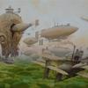 Landschaft, Luftschiffe, Steampunk, Dampf