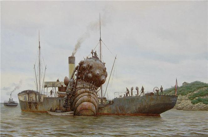 Schiff, Steampunk, Dampf, Meer, Malerei, Soldat
