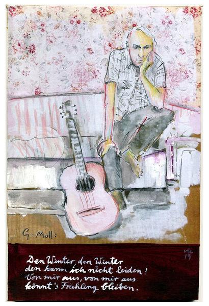 Musiker, Gitarre, Lied, Harry schlüther, Zeichnungen, Atmosphäre
