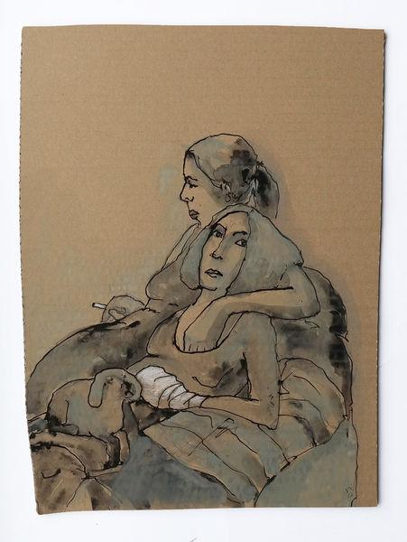 Hund, Verband, Zigarette, Frau, Zeichnungen