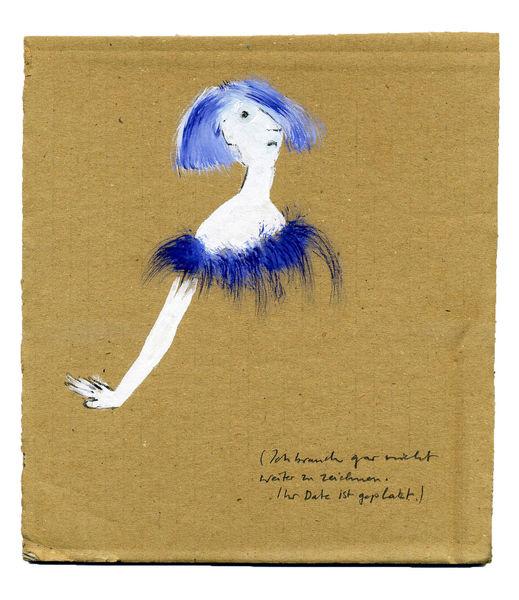 Blau, Abend, Zeichnung, Theater, Kleid, Absage