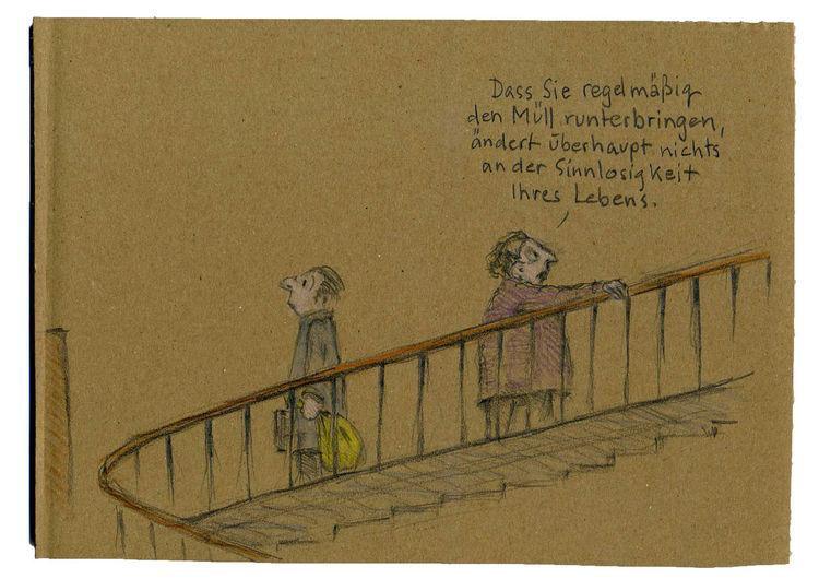 Sinnlosigkeit, Geländer, Müll, Leben, Treppe, Treppenhaus