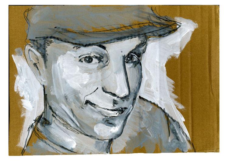 Hut, Pappe, Mann, Malerei, Portrait
