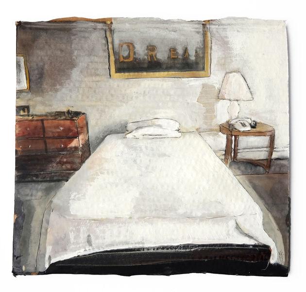 Raum, Schlaf, Bett, Malerei, York