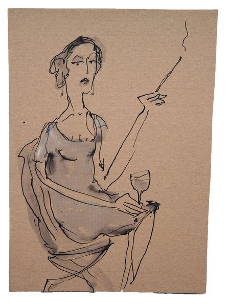 Frau, Rauchen, Stuuhl, Weinglas, Sitzen, Zeichnungen