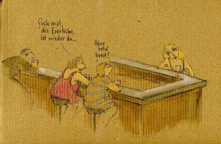 Bar, Frau, Ideal, Zeichnungen, Breit