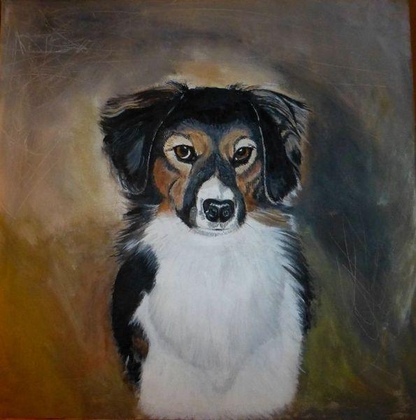 Hund, Weiß, Beige, Schwarz weiß, Malerei