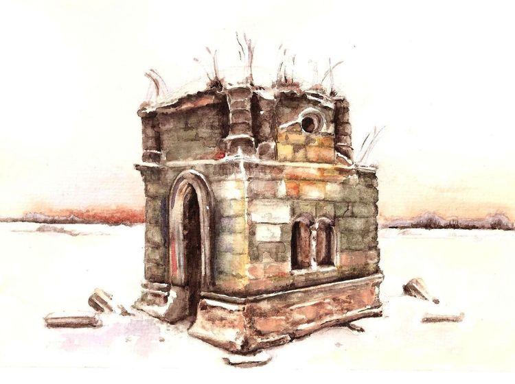 Vergänglichkeit, Architektur, Kirche, Aquarell, Winter, Glockenturm