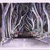 Wald, Gruselig, Baum, Aquarell