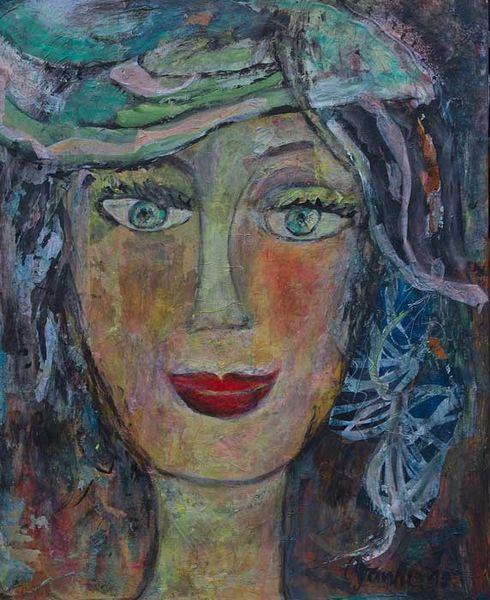 Hut, Türkis, Mittelgroß, Kopf, Malerei