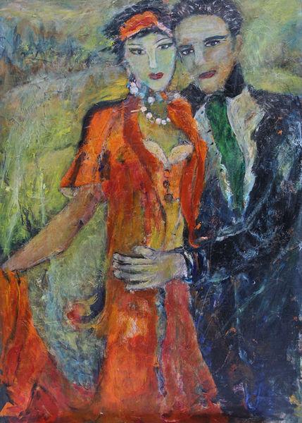 Haarband, Orangefarbenes kleid, Malerei, Paar
