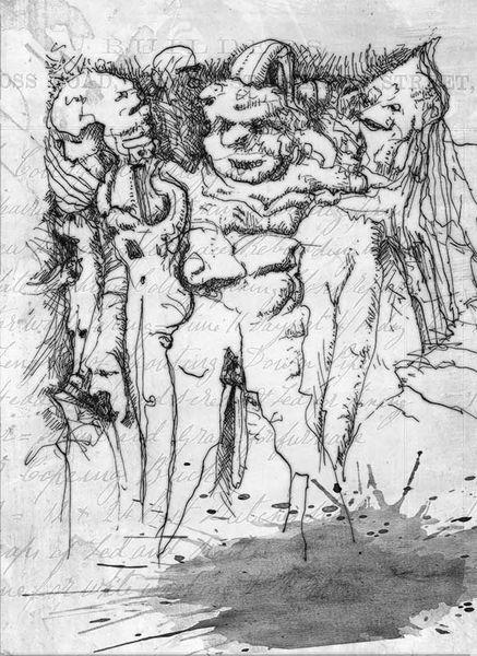 Einzel, Masse, Tuschezeichnung, Dummheit, Federzeichnung, Zeichnungen
