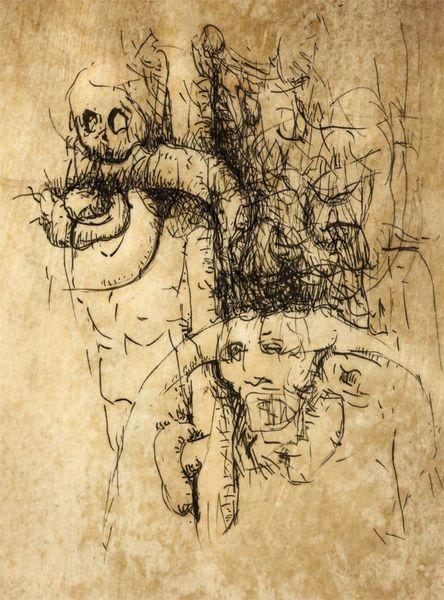 Vertreibung, Demagogen, Tuschezeichnung, Zeichnungen, Surreal