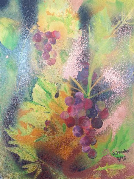 Acrylmalerei, Modern, Weinrebe, Trauben, Malerei, Pflanzen