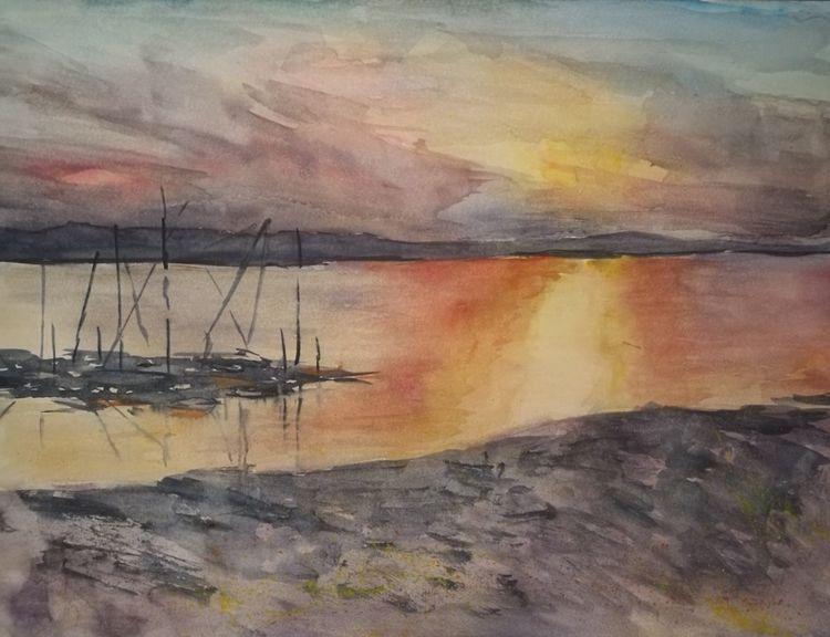 Aquarellmalerei, Schiff, Sonnenuntergang, Meer, Aquarell, Landschaft