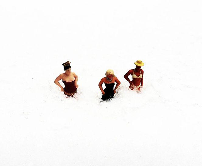 Miniaturfiguren, Wirklichen, Leben, Schnee