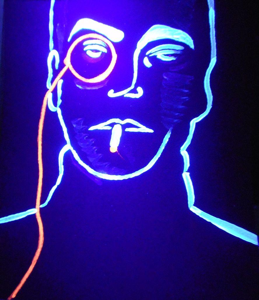 mann mit monokel schwarzlicht mann monokel licht von mycrazypictures bei kunstnet. Black Bedroom Furniture Sets. Home Design Ideas