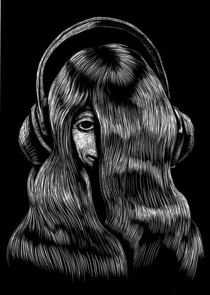 Modern, Zeichnung, Schwarz weiß, Zeichnungen, Haare