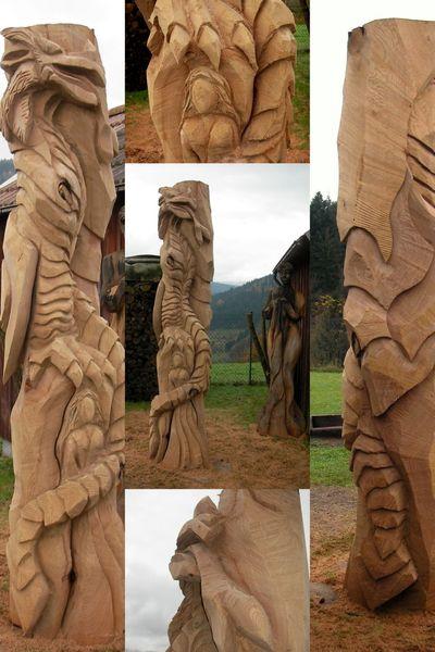 Kettensäge, Skulptur, Drache, Kunsthandwerk, Holzskulptur