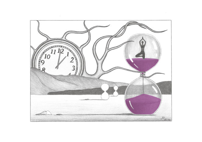 Zeichnung, Bleistiftzeichnung, Landschaft, Zeit, Sanduhr, Zeichnungen