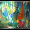 Blau, Grün, Acrylmalerei, Rot