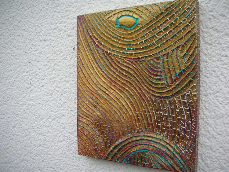 Holzbildträger, Acrylmalerei, Strukturpaste kn17, Mischtechnik