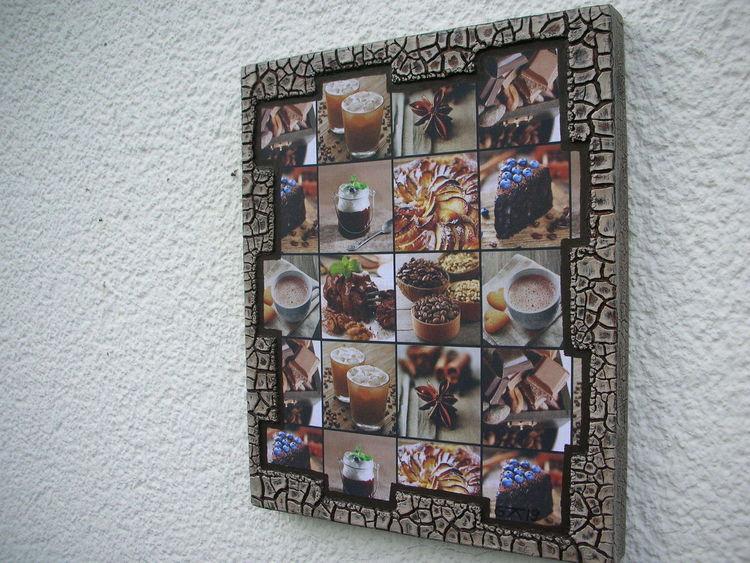Holzbildträger, Kn17, Dekoration, Mischtechnik, Kaffee, Kuchen