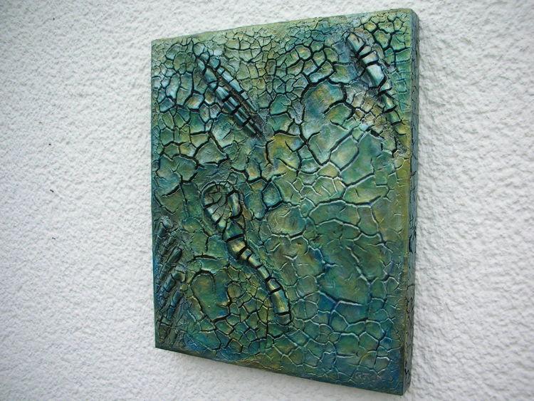 Bruchstrukturpaste kn 17, Holzbildhauerei, Acrylmalerei, Mischtechnik, Abstrakt