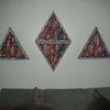 Dreiecke, Holzbildhauerei, Dekoration, Mischtechnik