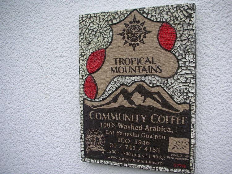 Kaffeesack, Strukturpaste kn17, Mischtechnik,