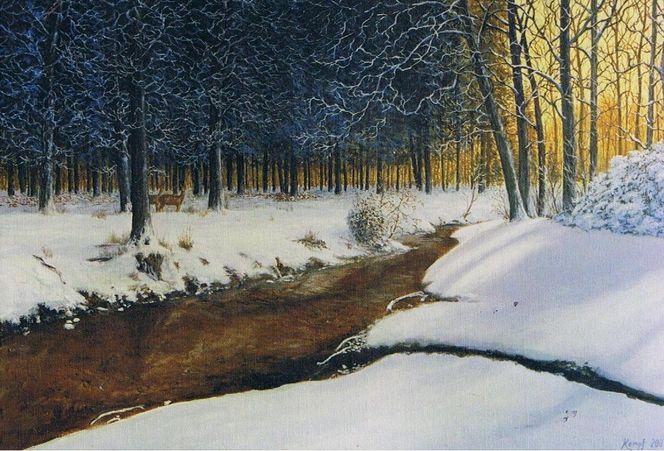 Tiere, Schnee, Abendstimmung, Bach, Wald, Winter