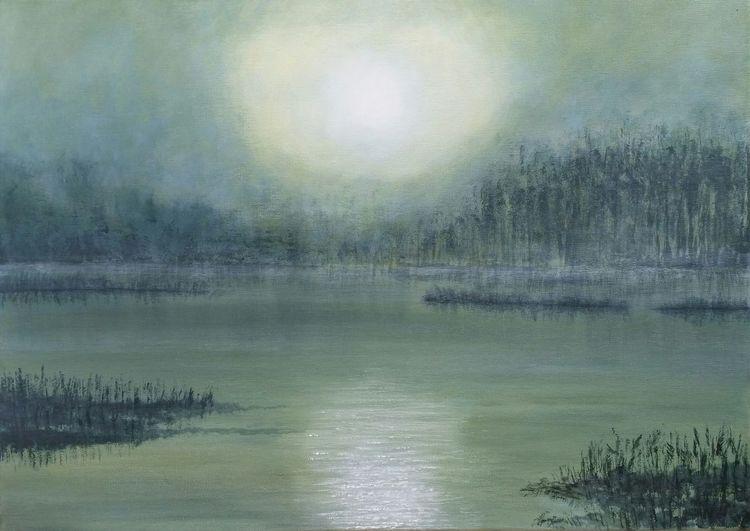 Licht, Nebel, See, Malerei, 2017